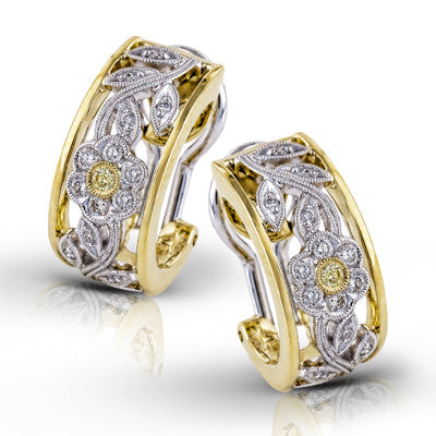 18k White and Yellow Gold and Fancy Color Diamond Earrings by Simon G