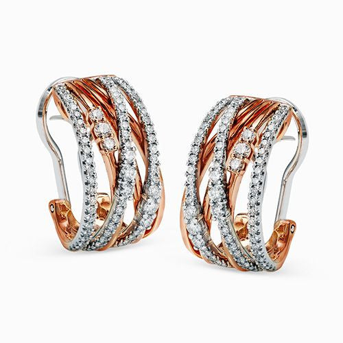 Layered Rose Gold and Diamond Earrings by Simon G