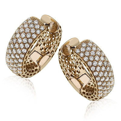 Pave Diamond Huggy Style Earrings by Simon G