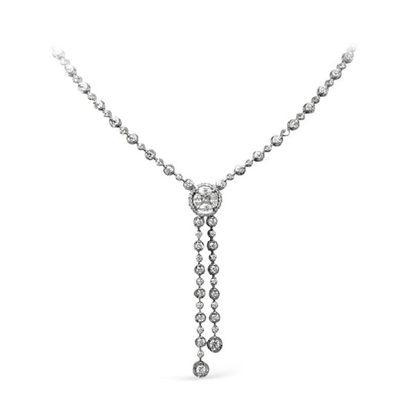 Lariat Style Fancy Shape Diamond Drop Necklace in 18k White Gold by Simon G.