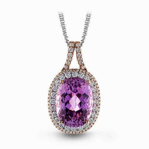 Impressive 18k White and Rose Gold Kunzite Pendant by Simon G.