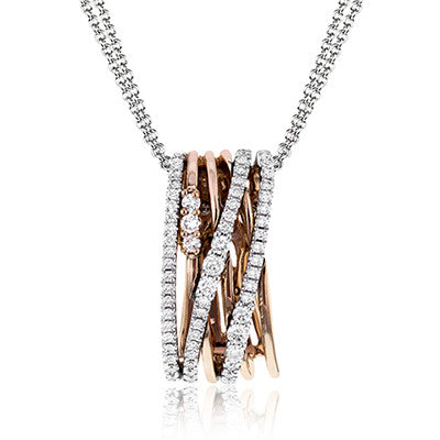 Cascading Layer Diamond Pendant in 18K White and Rose Gold by Simon G