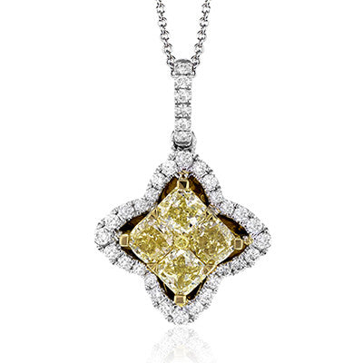 Dazzling Fancy Yellow and White Diamond Pendant by Simon G