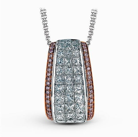 Fancy Pink and Princess Cut Diamond Pendant by Simon G.