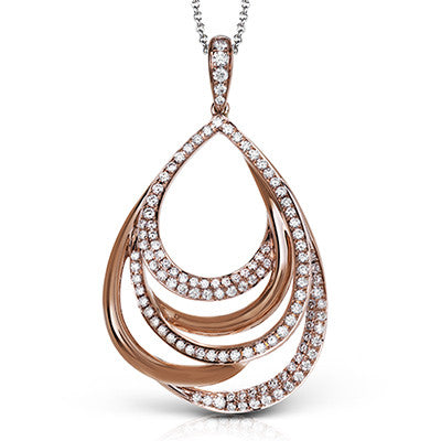 Lovely 18k Rose Gold and Diamond Pendant by Simon G