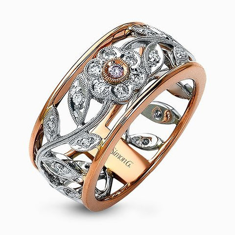 Beautiful 18k Gold Open Floral Design Ring by Simon G.