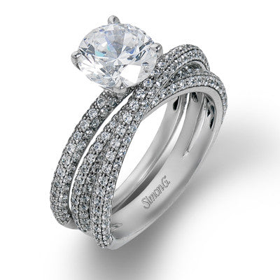 Elegant Three Sided Pave Wedding Set by Simon G