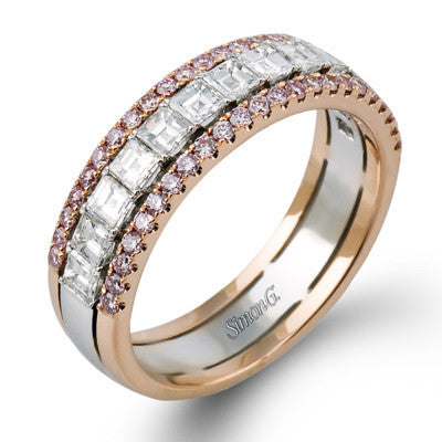18k Fancy Pink and Square Emerald-Cut Diamond Band by Simon G