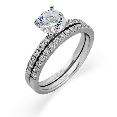 Beautiful 18k White Gold Pave Wedding Set by Simon G.