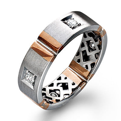 "Men's 14k White and Rose Gold ""Section"" Diamond Band by Simon G."