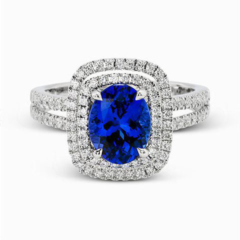 Vivid Blue Sapphire and Diamond Ring by Simon G.