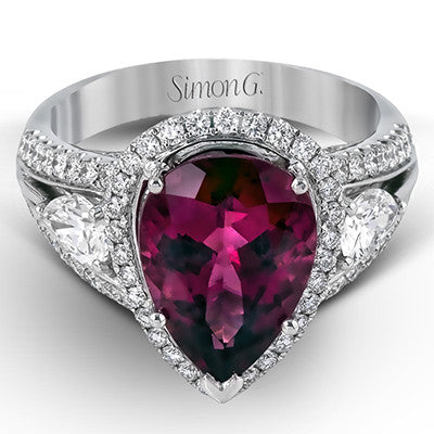 Beautiful Rubellite Garnet and Diamond Ring by Simon G