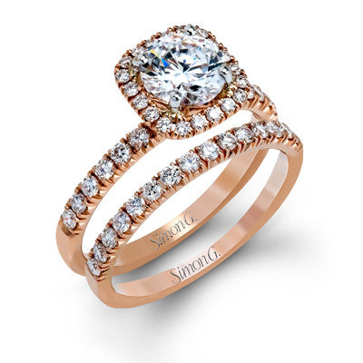 Dainty Cushion Shape Pave Halo Wedding Set by Simon G.