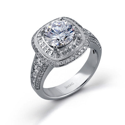 """Ballerina"" Inspired Cushion Shape Diamond Halo Engagement Ring by Simon G."