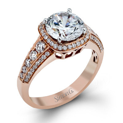 Beautiful 18k Rose Gold Cushion Shape Diamond Halo Engagement Ring by Simon G.