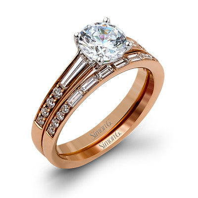 18k Rose Gold Round and Baguette Diamond Wedding Set by Simon G.