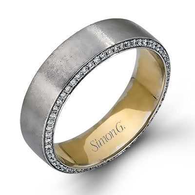 Mens 14k White and Yellow Gold Diamond Wedding Band by Simon G.