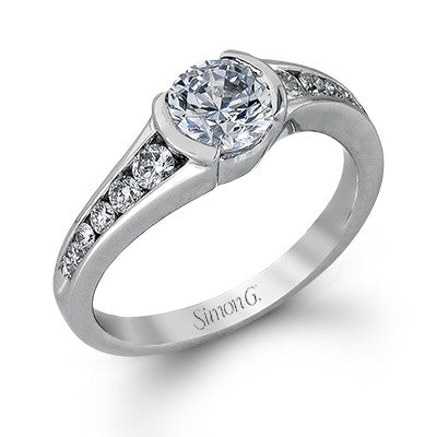 Bezel and Channel Set Diamond Engagement Ring in 18k White Gold by Simon G.