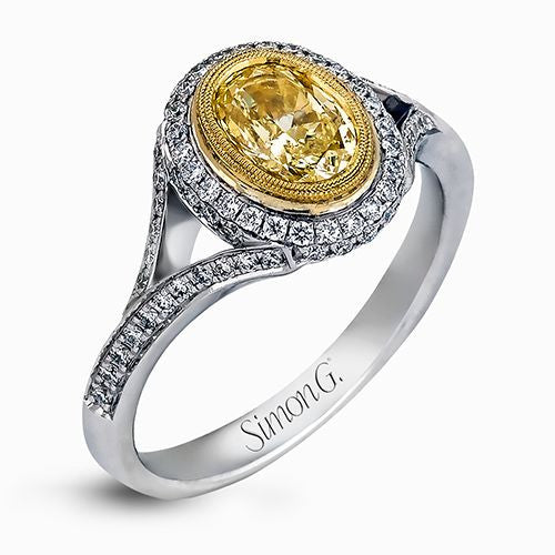 18k White Gold Fancy Yellow Diamond Ring by Simon G.
