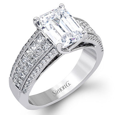 18k White Gold Princess Cut and Round Diamond Engagement Ring by Simon G.