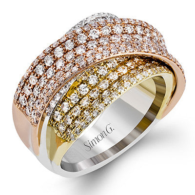 Three Tone Overlapping Diamond Ring by Simon G