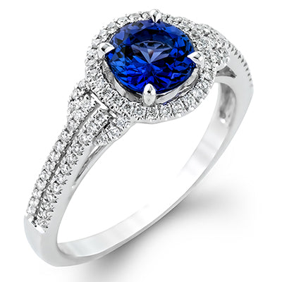 Beautiful Blue Sapphire Ring with Diamond Halo