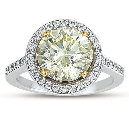 Tantelizing Fancy Colored Diamond Halo Ring in 18k White Gold featured by Teels Jewelry