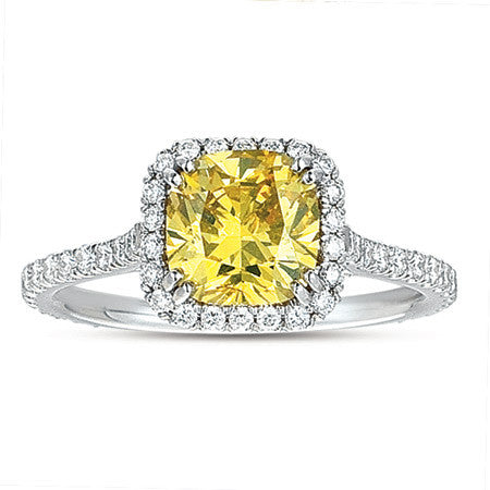 Beautiful Fancy Yellow Cushion Shape Diamond Ring with Pave Halo by MWI Eloquence