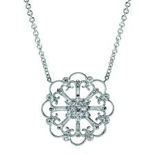 Ornate Vintage Inspired Open Filigree Diamond Pendant by Gabriel & Co