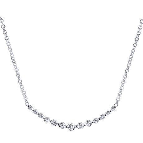 Sweet Shared Prong Diamond Necklace by Gabriel & Co