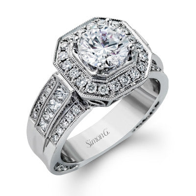 18k White Gold Round and Princess Cut Diamond Engagement Ring by Simon G.