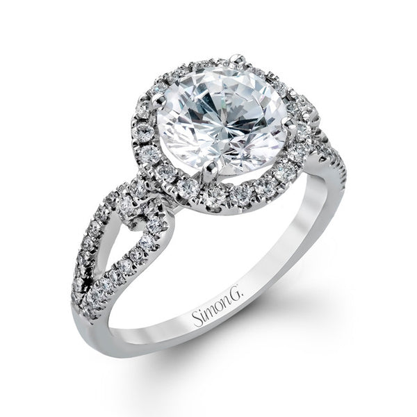 18k White Gold Pave Halo Split Shank Diamond Ring from Simon G.