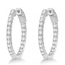 "Classic ""Inside-Outside""  Diamond Hoops in 14k & 18k White Gold"