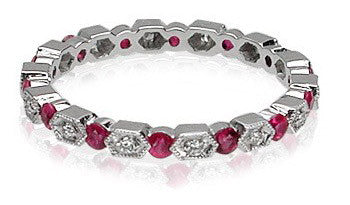 Dainty Ruby and Diamond Band by Parade