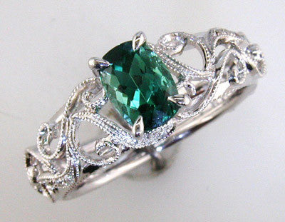 Vintage Inspired Blue Green Tourmaline Ring in 18k White Gold by Parade Designs