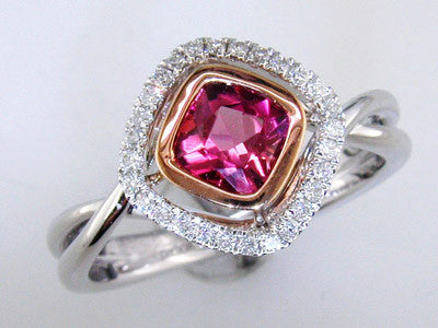 18k White and Rose Gold Pink Tourmaline and Diamond Ring by Parade