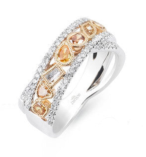 Amazing Color with a Fancy Yellow, Champagne, and Cognac Diamond Band in 18k Gold by Parade