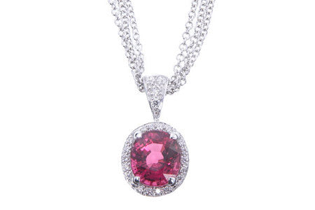 Bright Pink Tourmaline Diamond Pave Halo Pendant by Parade