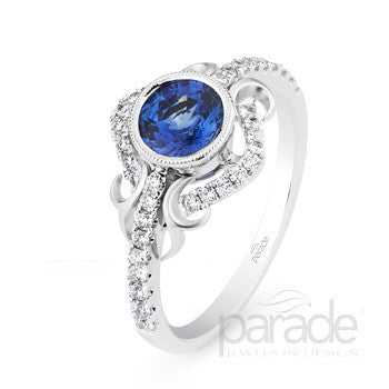 Vivid Blue Sapphire and Pave Diamond Vintage Inspired Ring by Parade