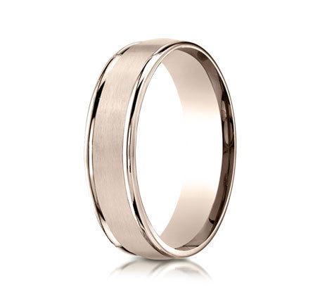 6mm Brushed Mens Wedding Band with Polished Edges by Benchmark