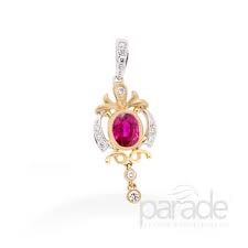 Beautiful Oval Ruby and Diamond Pendant by Parade