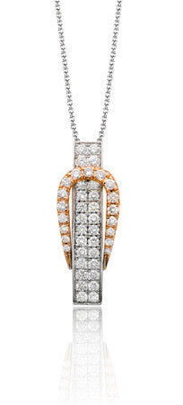 Buckle Design Pendant in 18k White and Rose Gold with Pave Set Diamonds by Simon G.