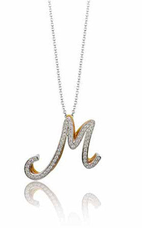 """M"" Initial Pendant in 18k White, Rose and Yellow Gold by Simon G."