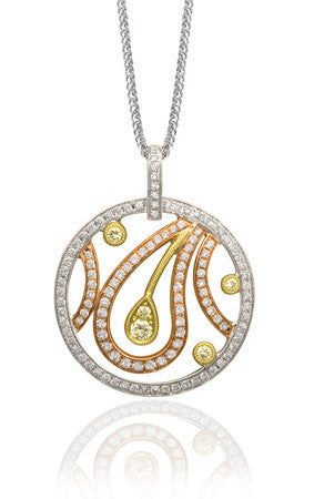 Eye Catching Paisley White and Canary Diamond Pendant Designed by Simon G