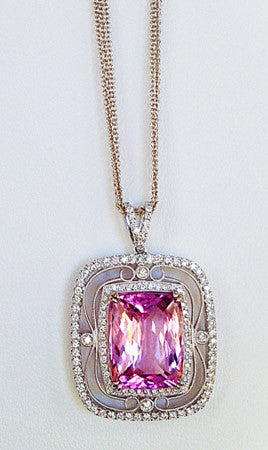 Elegant Vintage Filigree 18k White Gold Pendant with cushion shape Kunzite by Simon G.