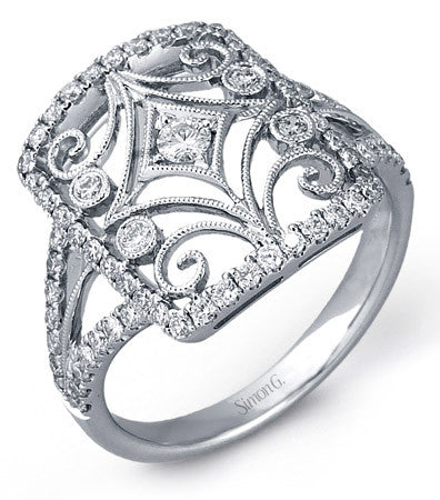 18k White Gold Vintage Inspired Pave Diamond Ring by Simon G.