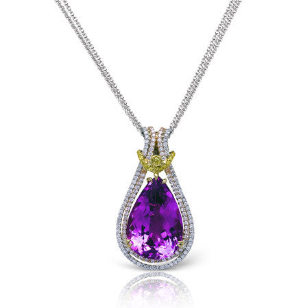 Stunning 11.88ct Pear Shape Kunzite in a 18k Double Pave Diamond Halo Pendant by Simon G.