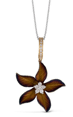Nature Inspired 18k Yellow and Rose Gold Leaf Pendant by Simon G.