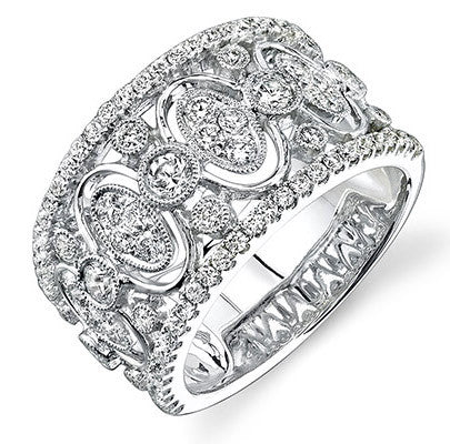 Amazing 18k White Gold Wide Diamond Band by Simon G.
