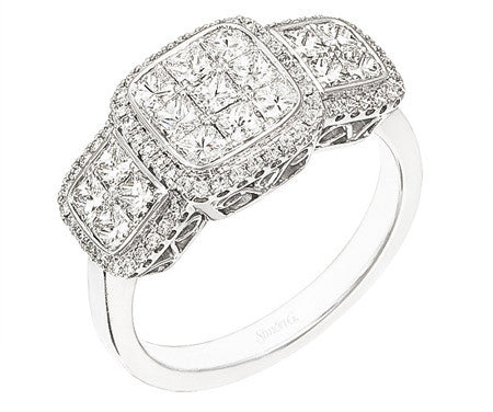 Simon-Set 18k White Gold Princess Cut Diamond Pave Halo Ring by Simon G.